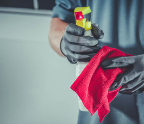 Cleaning Cloth and Detergent. Cleaning Service Concept.